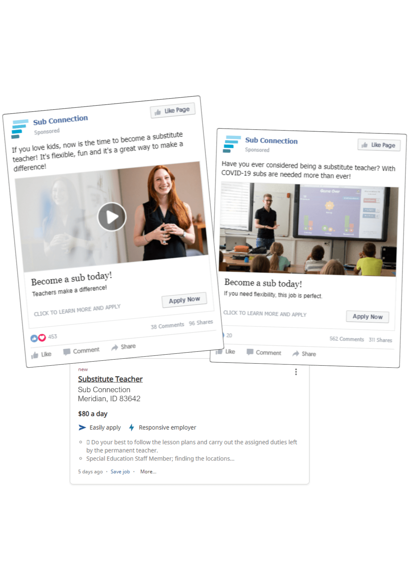 Sub Connection Facebook and Indeed Ads